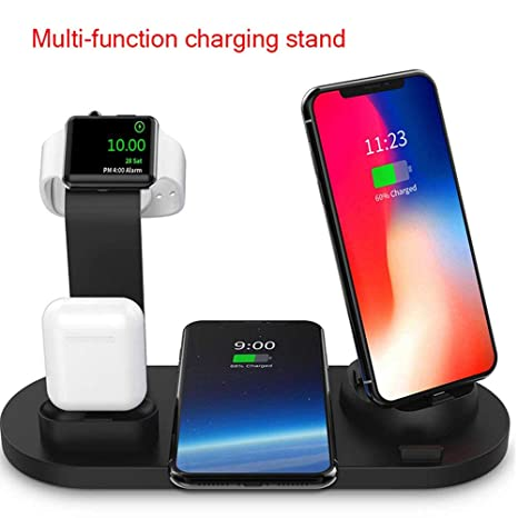 Ceepko - Estación de Carga inalámbrica 6 en 1, Compatible con Apple Airpods/iPhone XS/XR/8 Plus/Iwatch/Samsung Galaxy S10/S9/S8, Cargador rápido Qi, ...