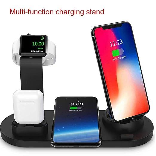 Ceepko - Estación de Carga inalámbrica 6 en 1, Compatible con Apple Airpods/iPhone XS/XR/8 Plus/Iwatch/Samsung Galaxy S10/S9/S8, Cargador rápido Qi, ...