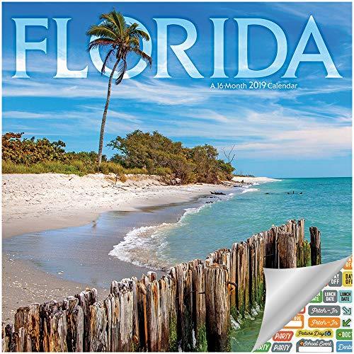 - Florida Calendar 2019 Set - Deluxe 2019 Florida Wall Calendar with Over 100 Calendar Stickers (Florida Gifts, Office Supplies)