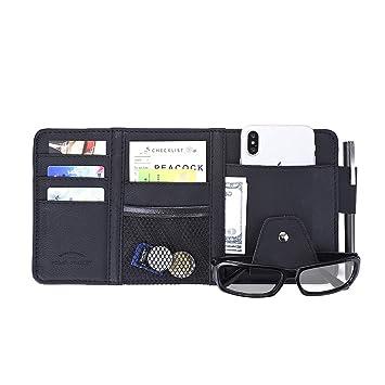 1b1ea1cc3160 Amazon.com: QianBao Car Sun Visor Multi-Pocket Card Sunglasses ...