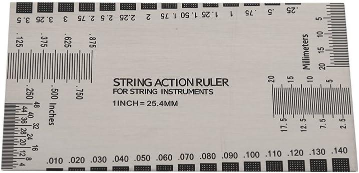 Guitar String Gauge,String Action Ruler Gauge Tool with Fret Protectors Set Ruler Gauge Measuring Tool for Guitar Bass Instruments