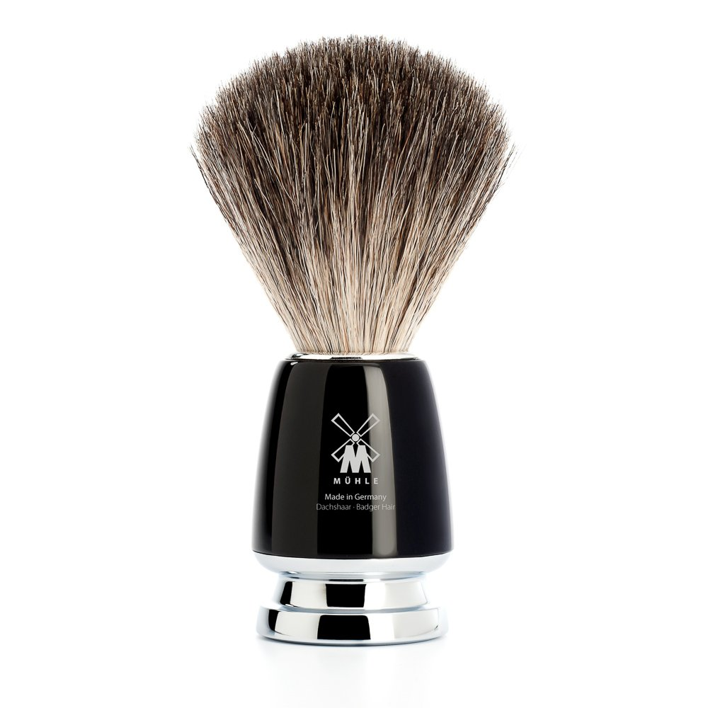 Mühle Rytmo Series Shaving Brush with Pure Badger Hair Bristles and Black High-Grade Resin Handle MÜHLE MÜHLE 81M226