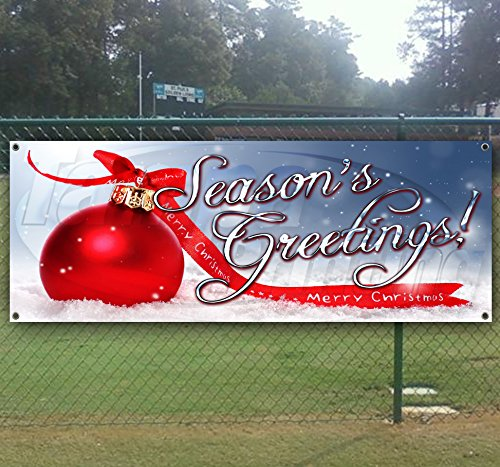 Seasons Greetings 13 oz Heavy Duty Vinyl Banner Sign with Metal Grommets, New, Store, Advertising, Flag, (Many Sizes Available)