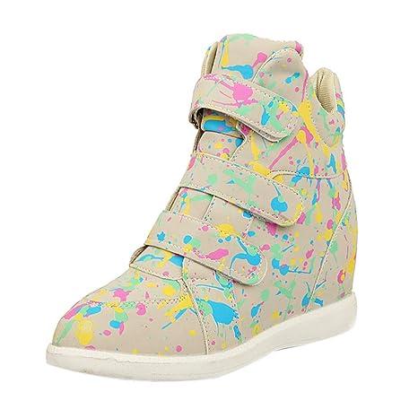 LuckyGirls Zapatillas de Correr Jogging Zapatos Tinta Velcro Mujer Informales Calzado Deportivo Cuñas Aumento Interno 5cm