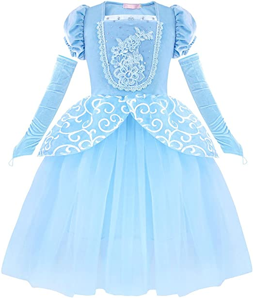 HenzWorld Girls Princess Rapunzel Dress Up Snow White Costume Kids Sofia Elsaa Birthday Party Halloween Outfit