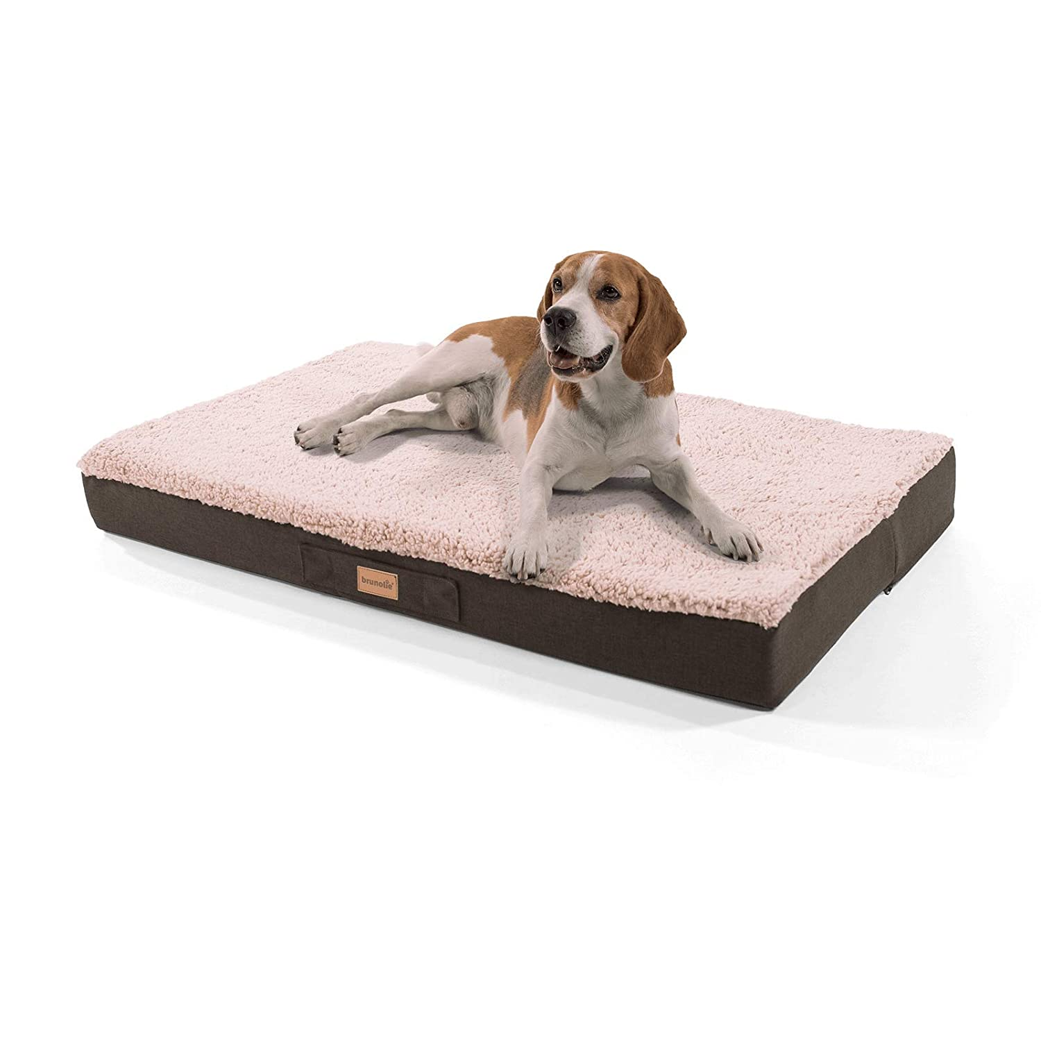 Beige large 100 x 65 cmbrunolie  Balu small dog mat in grey – orthopaedic, washable and nonslip dog bed with cuddly plush, size S