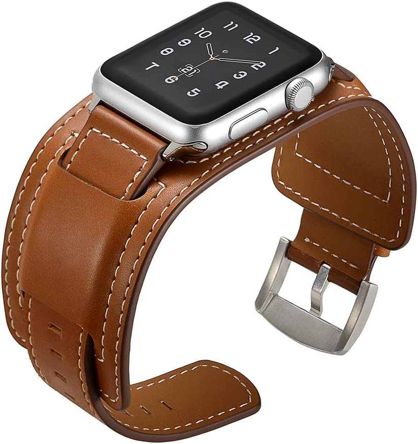 EloBeth Watch Band Compatible with Apple Watch Band 42mm 44mm Series 6 5 4 3 2 1 Leather Band with Buckle Cuff Replacement for iWatch Band Strap Fits 5.5' - 7.67' Small (Brown, 42mm/44mm)