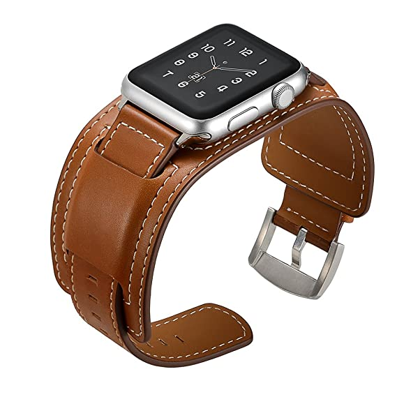 Elobeth iWatch Band 44mm 42mm Genuine Leather Band Buckle Cuff Bracelet  Wrist Watch Band with Adapter 7b7fe58811c36