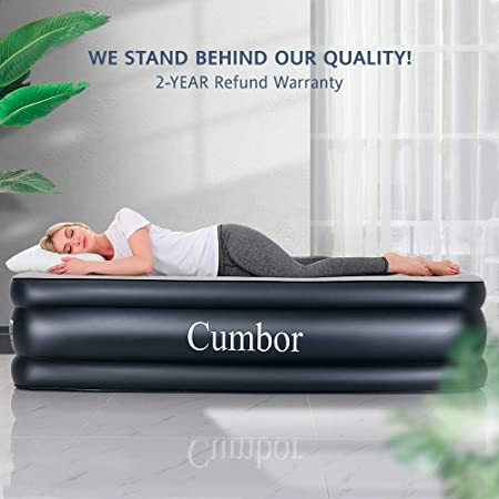 Cumbor Twin XL Air Mattress with Built-in Pump, Premium Elevated Inflatable Air Bed for Guest and Camping – Blow Up Double High Air Mattress Quilt Top, 80 x 40 x 18 inches , 2-Year Guarantee
