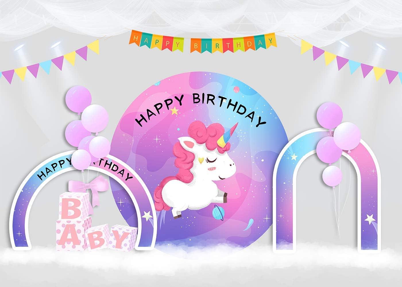 10x8ft Baby Unicorn Theme Birthday Photography Backdrop Photo Background Studio Events Props LHFU064