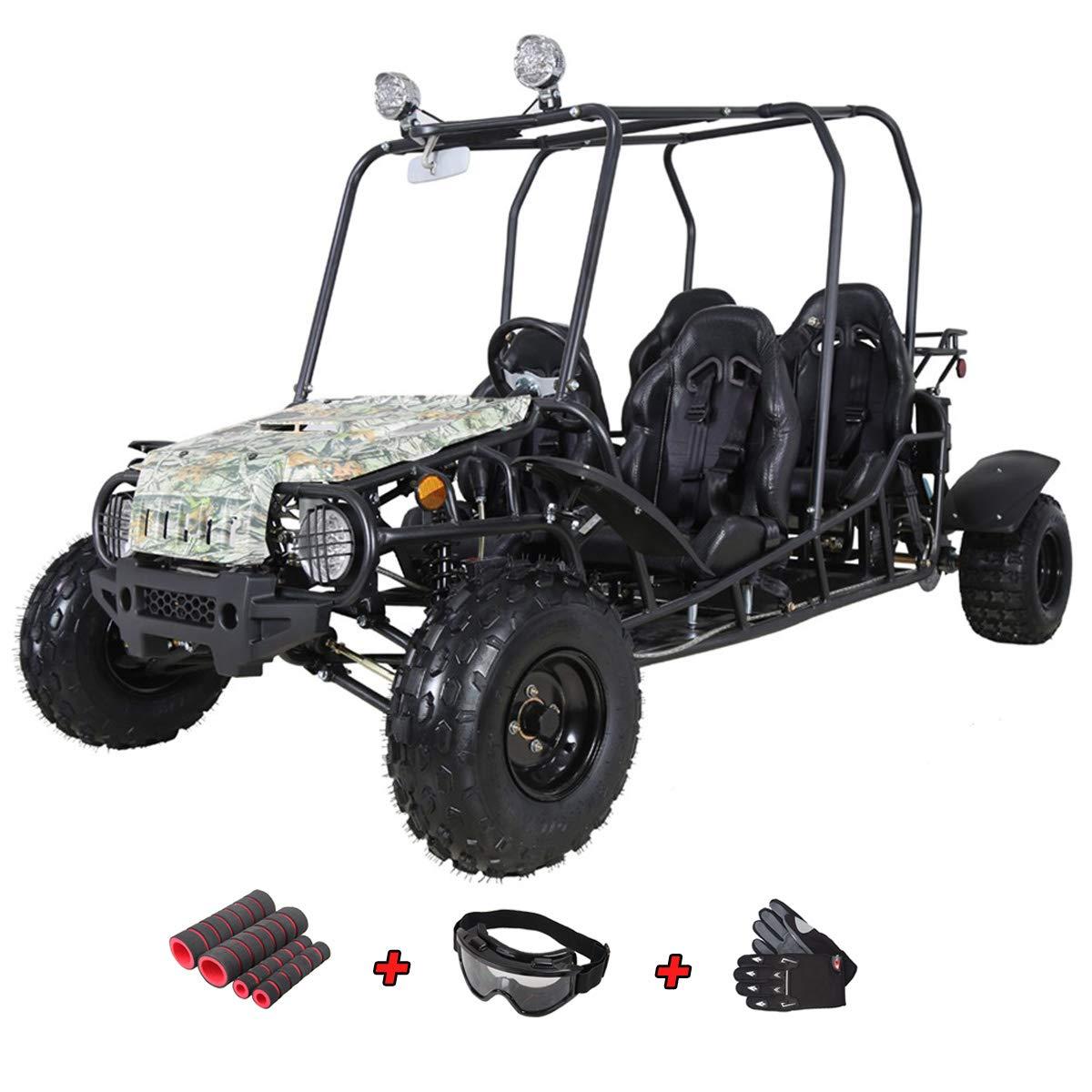 X-Pro 200cc Adult Gokart Dune Buggy Adults Go Cart Gokart 4 Seater Go Kart with Gloves, Google and Handgrip (Tree Camo)