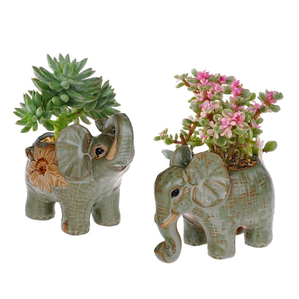 2 Pack Elephant Shaped Succulents Plants Pot Retro Glaze Ceramic Flower Pot Garden Yard Flower Succulent Bonsai Bed Trough Plant DIY Pot home desktop decoration