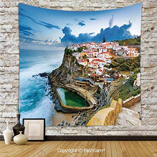 FashSam Hanging Tapestries Portuguese Town Coast Azenhas do Mar Beach by Cliffs Village Shore Theme Wall Blanket for Living Room Dorm Decor(W39xL59)]()