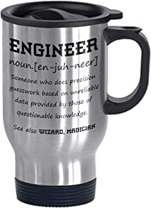 Funny Engineer Definition Stainless Steel Commuter and Travel Mug Birthday Present for Friend Coworker Gag Gift for Woman Man Office Humor Silver 14 oz