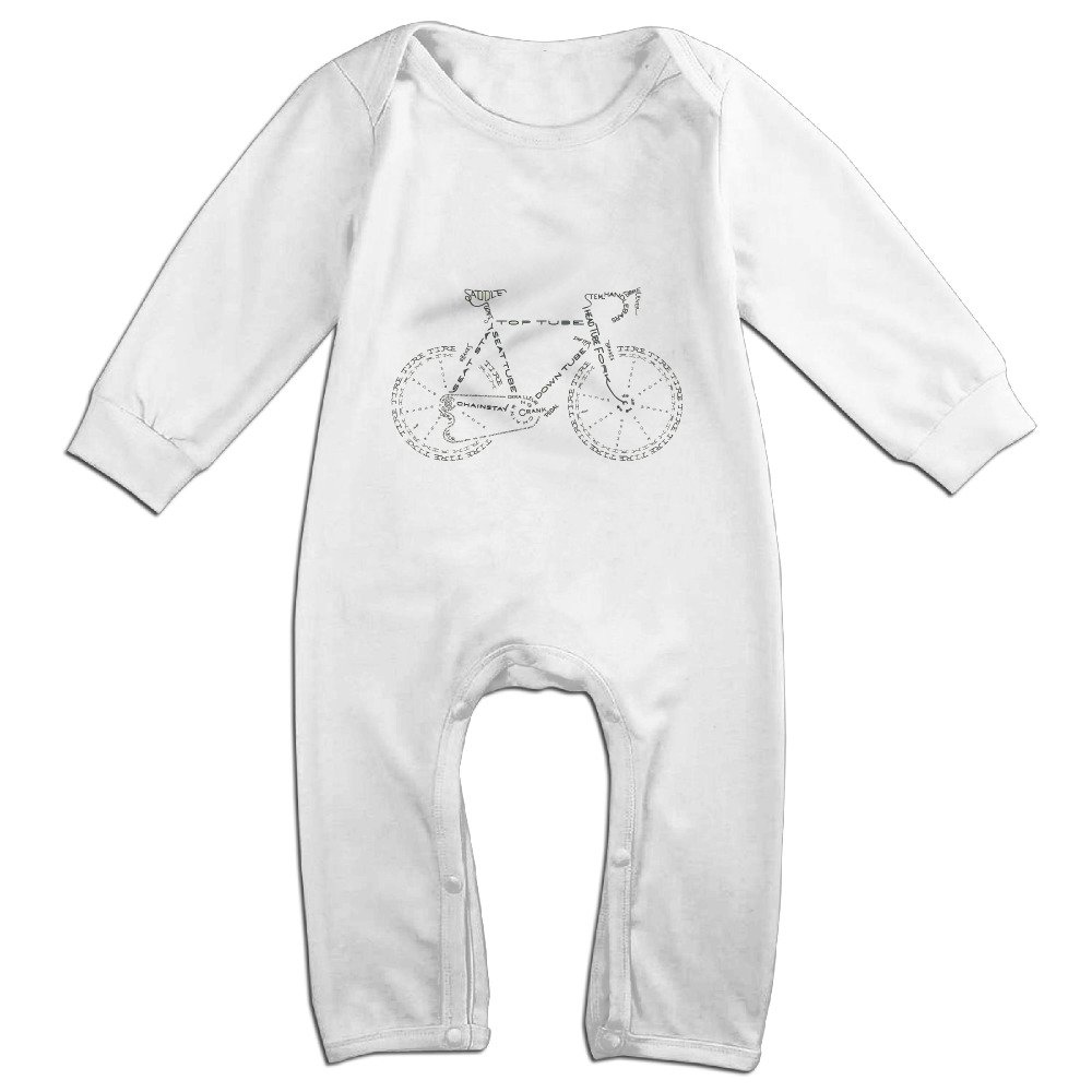 Ellem Cute Bicycle Jumpsuit For Toddler White