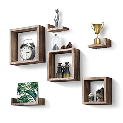 Love KANKEI Floating Shelves Set Of 7, Rustic Wood Wall Shelves 3 Square  Boxes