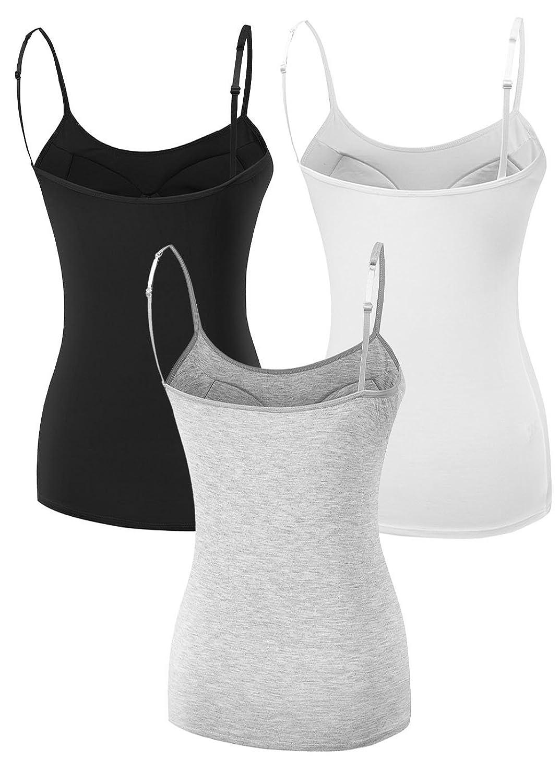 Women's Ladies Strap Basic Stretch Built-in Shelf Bra Cami Tank ...