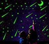 2 Sheets Glow in the Dark Wall Decals Stickers for Windows, Wall or Car Deocration (Falling Star)