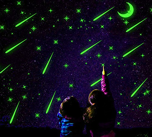 2 Sheets Glow in the Dark Wall Decals Stickers for Windows, Wall or Car Deocration (Falling Star) (Decals Glow Dark In That Wall)