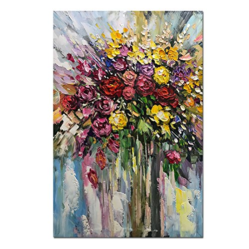 Fasdi-ART Paintings, 24x36 Inch Oil Painting Flower Rose 3D Hand-Painted On Canvas Abstract Artwork Art Wood Inside Framed Hanging Wall Decoration Abstract Painting (DF003) ()