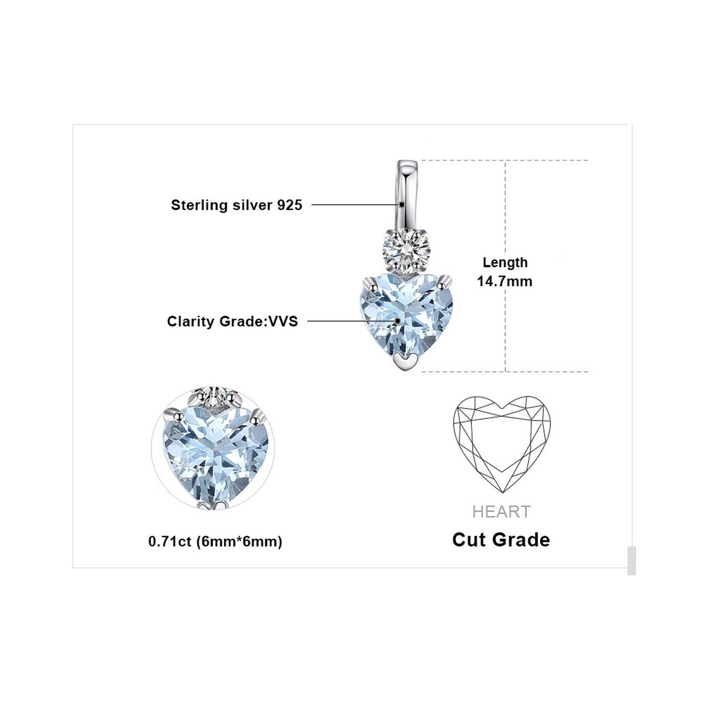 CS-DB Pendants Heart Love 0.8ct Aquamarine Silver Necklaces