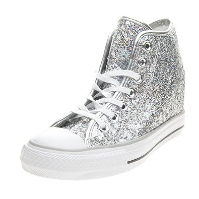 5d284b2e81a68e Converse - Converse Lux Mid Damenschuhe Silber Glitzer 552698C - Silber