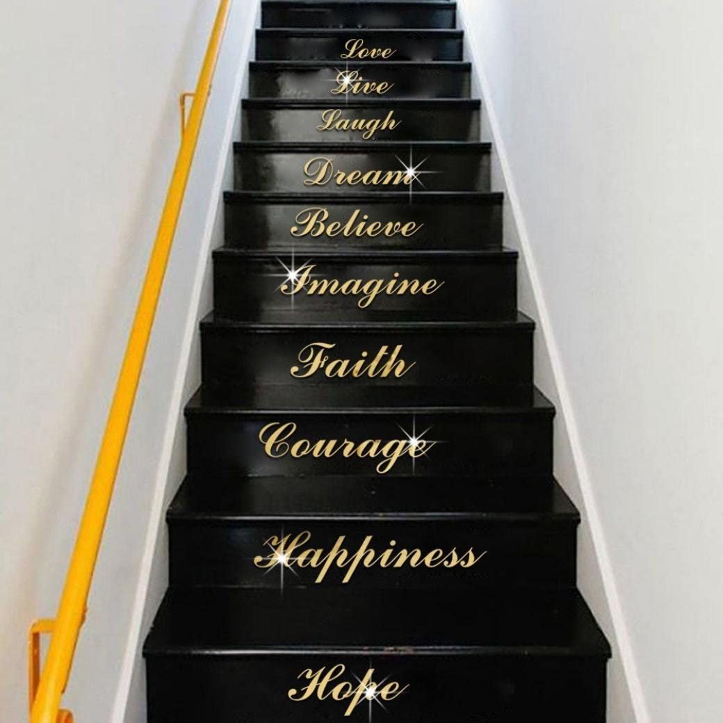 Fheaven Self Adhesive Acrylic Silver Mirror Effect Quote Word Art Stair Decals Wall Sticker Home Decor