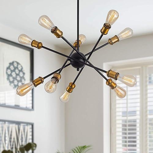 Weesalife Sputnik Chandeliers 10 Lights Modern Rotatable Mid Century Pendant Lighting Industrial Vintage Ceiling Light Fixture