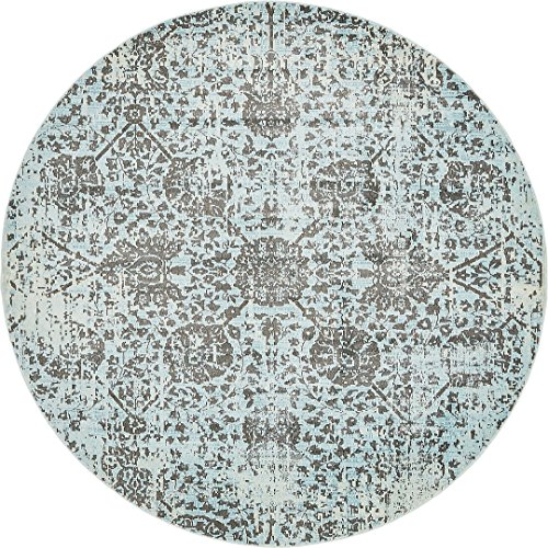 - A2Z Rug Light Blue 8' 4 Feet Round St. Tropez Collection Traditional and Modern Area Rugs and Carpet