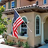 ZENY 6FT Aluminum Spinning Flagpole Tangle Free Wall Mounted Flag Pole w/3'x5' US Flag,Great for Home Office Garden