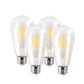 edibob 4 W regulable ST64 Edison bombillas LED bombilla, E26 Base, Vintage luz blanca