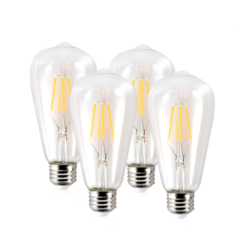 Edison LED Light Bulbs- 4Watt Dimmable ST64 – ETL Listed - E26 Bulb Base - Vintage Light Bulb - Warm White 2300k - 320 Lumens - Filament Light Bulb for Home Lighting (4 Pack)