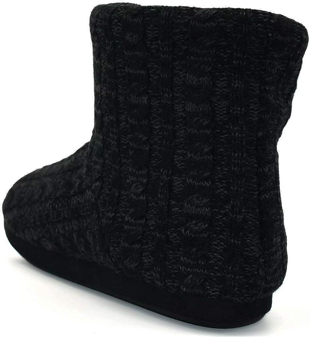 Mens Woolen Knit Slipper Boots Furry Plush Foam Velvet Slip On Ankle Booties Indoor House Bedroom