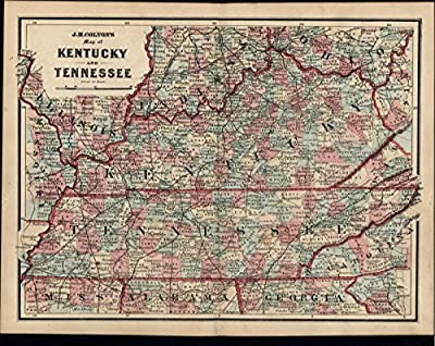 Kentucky Tennessee Ohio Illinois Indiana old antique c.1860 scarce Colton map