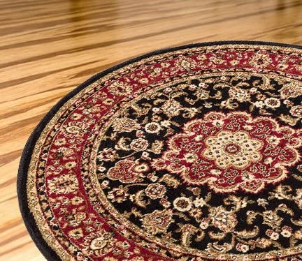 Persian Classic Black Noir 7 10 Round Area Rug Oriental Floral Motif Detailed Classic Pattern Antique Living Dining Room Bedroom Hallway Home Office Carpet Easy Clean Traditional Soft Plush Quality