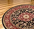 "Persian Classic Black Noir 3'11"" Round Area Rug Oriental Floral Motif Detailed Classic Pattern Antique Living Dining Room Bedroom Hallway Home Office Carpet Easy Clean Traditional Soft Plush Quality"