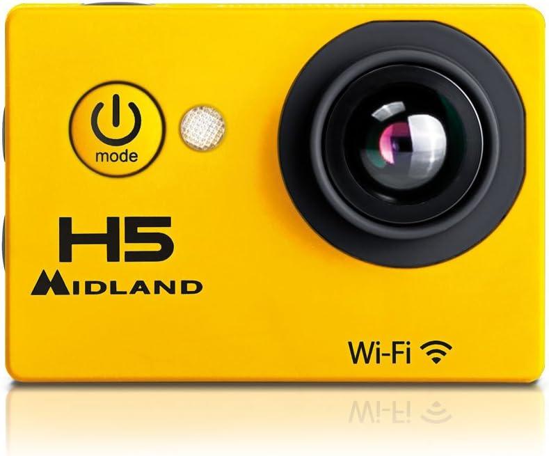 Midland C1208 C1208-Videocámara Deportiva (Full HD 1080p, WiFi, Sumergible hasta 30 m, Gran Angular 140º, Pantalla integrada), Amarillo/Negro