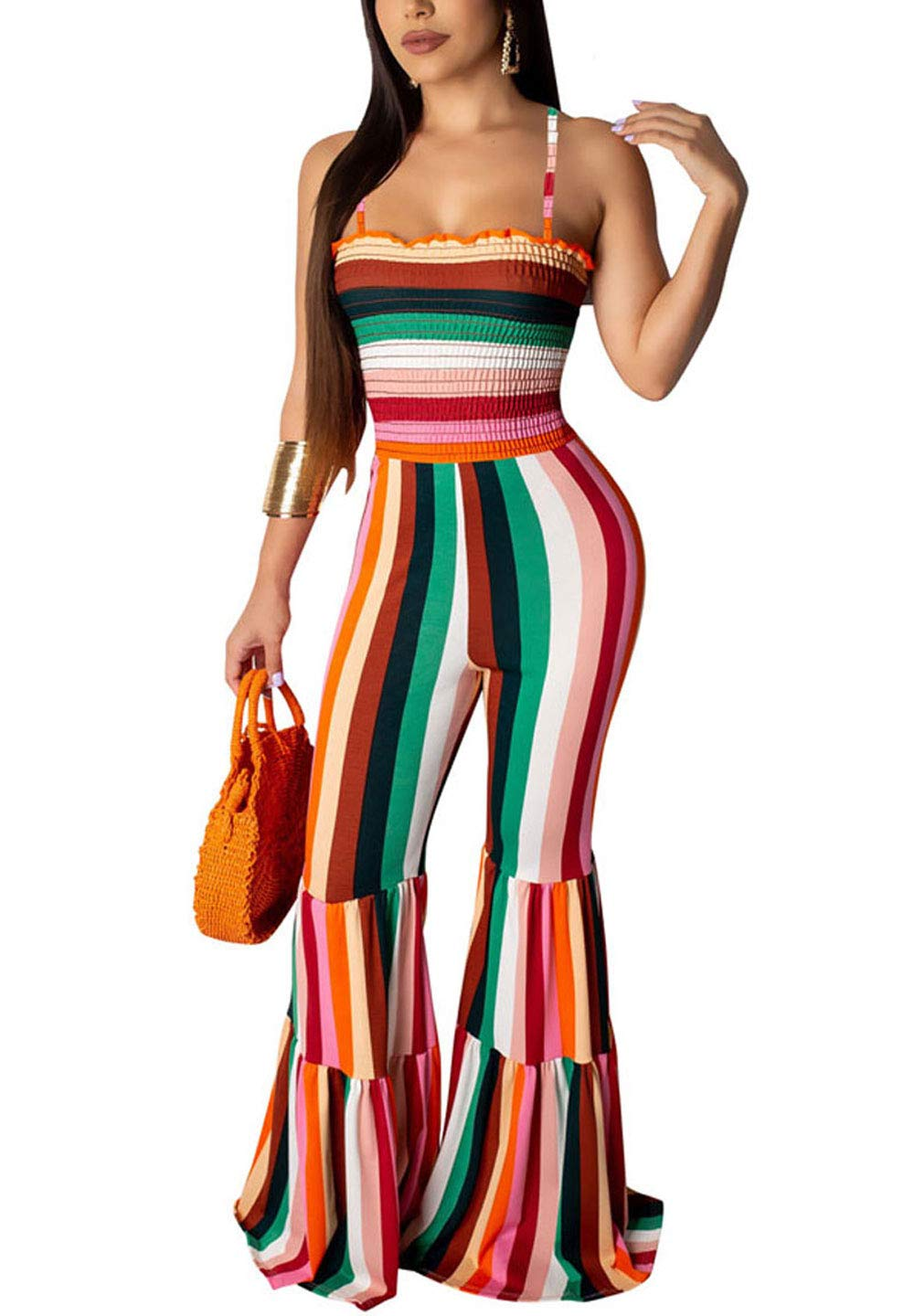 Ophestin Bell Bottom Jumpsuit for Women, Sexy Summer Spaghetti Strap Flare Pants Rompers Overalls Orange