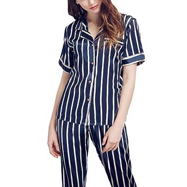 Pijama De Rayas De Moda De Mujer Pantalones De Manga Corta Sexy Collar De Camisa De