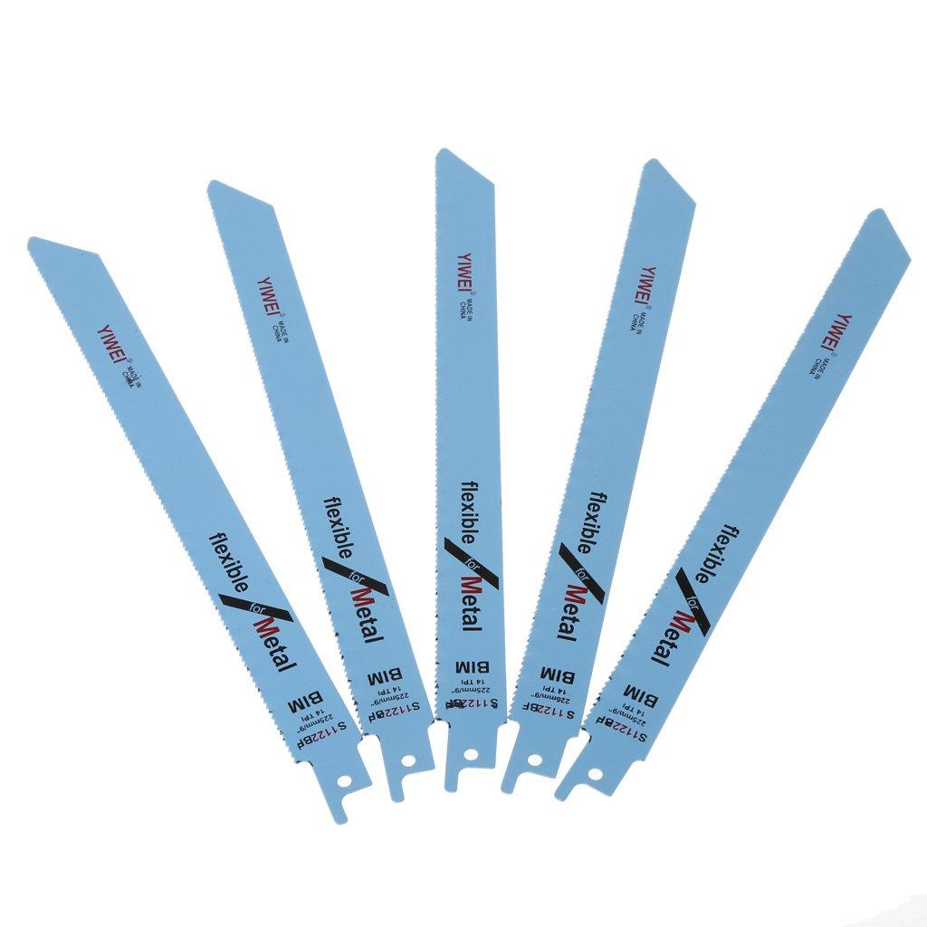 Besttse S1122BF Lot de 5 lames de scie sabre pour coupe du m/étal et du bois 227 mm