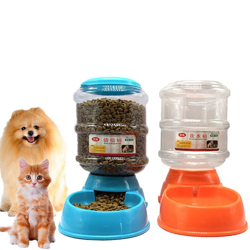 Puppy Cat Dog Pet Auto Feeder Water Bottle Food Bowl Portion Control 3 style (Water Dispenser, green) by Ciguo (Image #2)