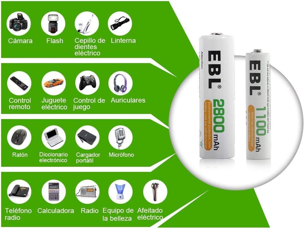 EBL 1100mAh AAA Ni-MH 1200 Ciclo de Pilas Recargables para los ...