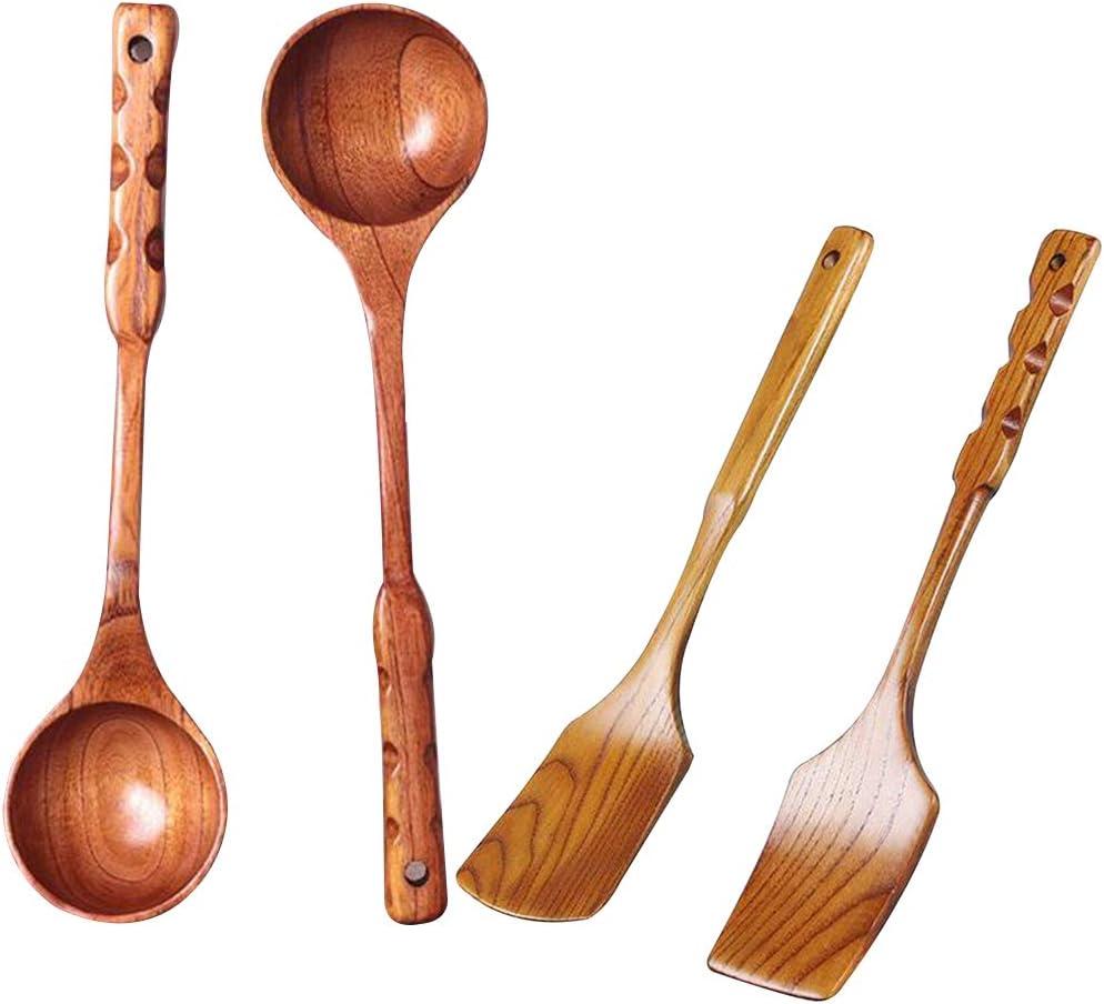 Wooden Ladle,Wood Cooking Spoons Wood Soup Scoop Spoon Kitchen Tableware S