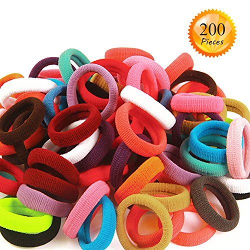 200 PCS small Cotton Hair Ties Rope for Baby Girls Kids No Damage Hairbands Multicolor