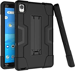 Cherrry for Lenovo Tab M8 FHD 8.0 Case,Hybrid Heavy Duty Three Layer Full-Body Shockproof Defender Rugged Protective Case Cover with Stand for Lenovo Tab M8 FHD (TB-8705F) 8.0 Inch (Black/Black)