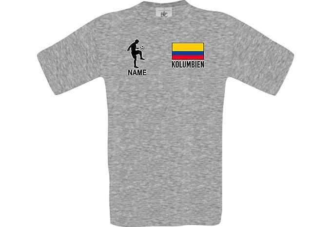 Shirtstown Camiseta De Hombres Camiseta de Fútbol Colombia con SU Nombre Deseado Estampado - Gris Deportivo