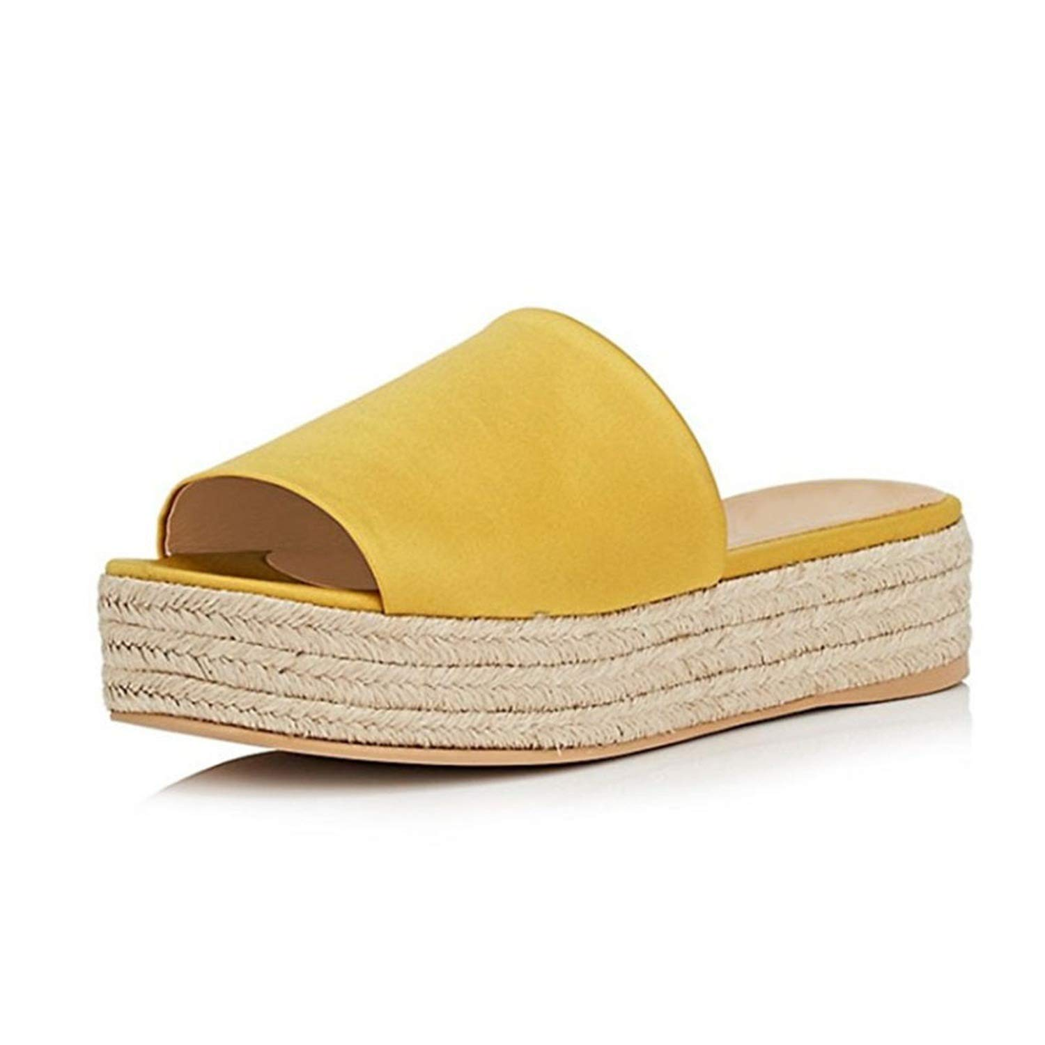 TY01 Platform Med Heel Flat Slippers Yellow Red bluee Big Size 8 9 15 Straw shoes Women's Slides Casual Summer