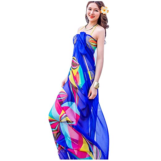 7bec4c2a5aedf GERINLY Chiffon Thin Sarong Wrap  Geometrical Design Plus Size Beach Cover  Up (Blue)