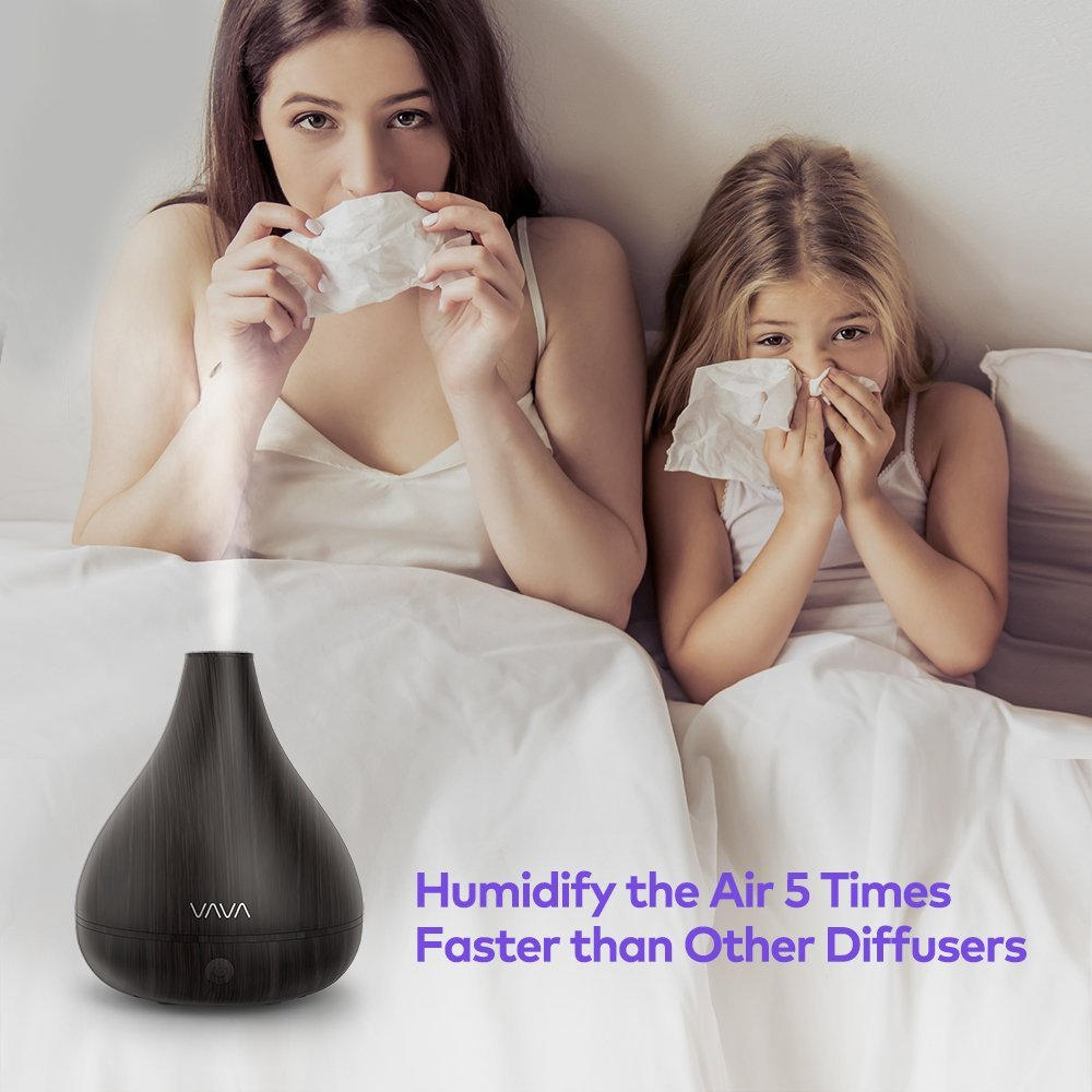 VAVA 2-in-1 Humidifier & Diffusers for Essential Oils arge Aroma Wood Grain Ultrasonic Cool Mist Humidifiers for Office Home Bedroom Yoga Spa (Certified Refurbished) by VAVA (Image #8)