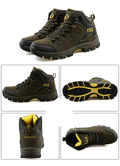Amazon.com: R-Runenh Leather Hiking Boots Outdoor Sports Shoes Men Climbing Mountain Sneakers: Sports & Outdoors